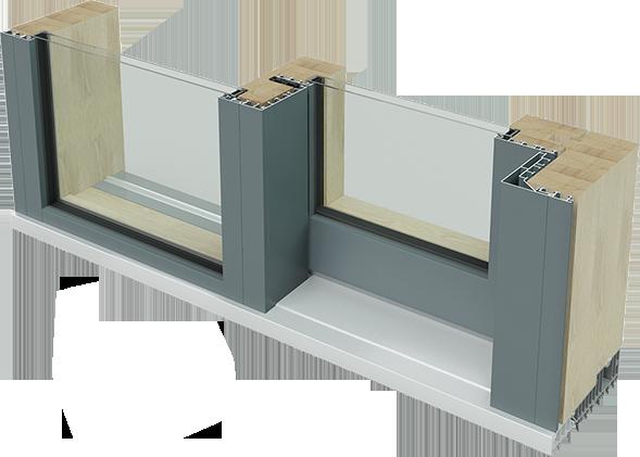 Plan de coupe matériaux porte-fenêtre